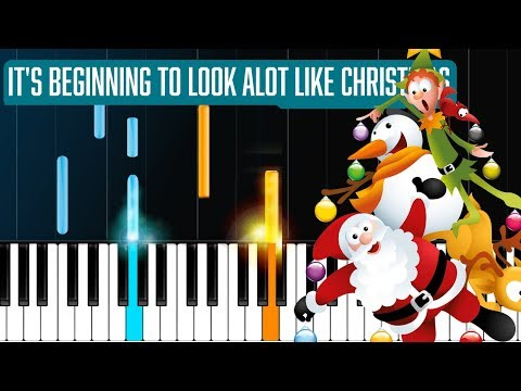"""""""It's Beginning To Look Alot Like Christmas"""" Piano Tutorial - Chords - How To Play - Cover"""