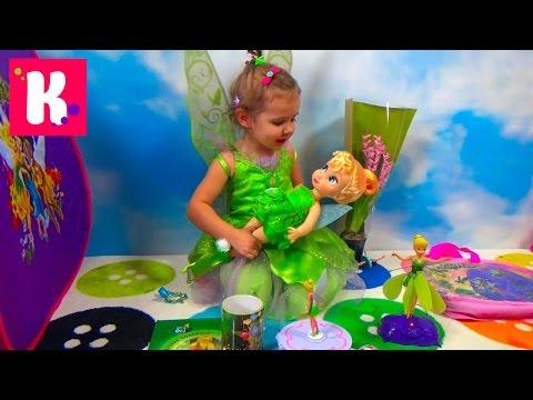 Катя Фея Динь Динь открывает много игрушек в палатке Disney Fairies Tinker Bell a lot of toys