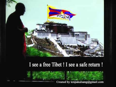Majestically flying Tibetan national flag over Potala Palace with H. H.  the Dalai Lama