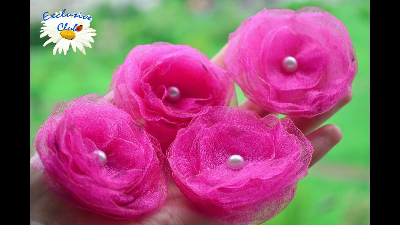 Роза из органзы своими руками