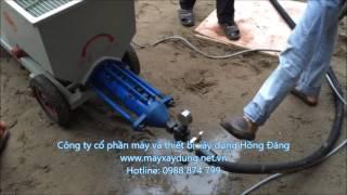 Lắp đặt chạy thử máy phun vữa jrd200, máy phun vữa chát tường, máy bơm vữa 0988874799