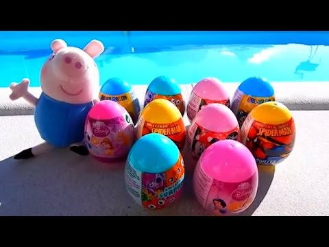 Spiderman, Mario Bros, Mickey Mouse And Peppa Pig Surprise Eggs Toys video