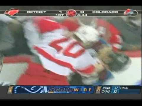 Nick Lidstrom HURT - Downey vs. Laperriere - Avs vs. Wings Video