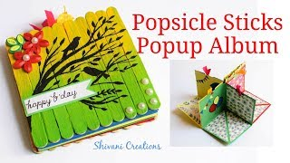 DIY Popsicle Stick album/ How to make Birthday Scrapbook/ Popup Birthday Card