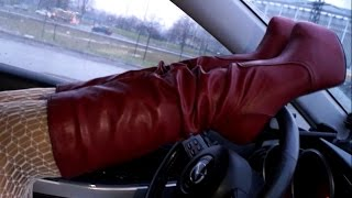 I in red leather platform boots and gloves drive on my car