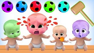 Learning Colors With Color Boss Baby Soccer Ball Wooden Hammer - Toy Kids Channel