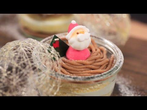 スノードームのモンブランケーキ
