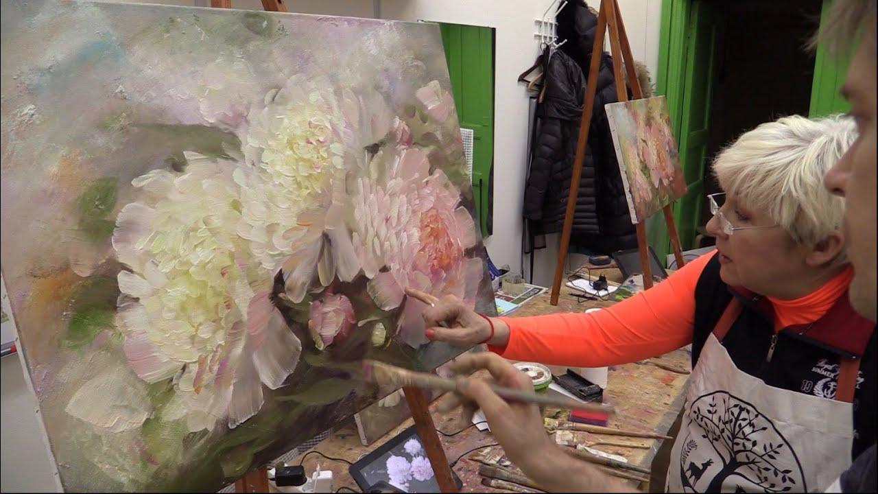 Видео мастер классы по живописи цветы