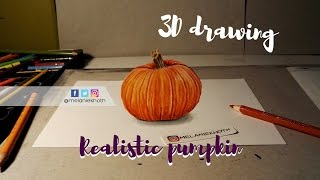 realistic pumpkin drawing. 3d pumpkin drawing realistic