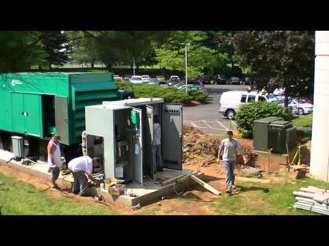 Time-lapse photography of a Cummins Power Generation installation.
