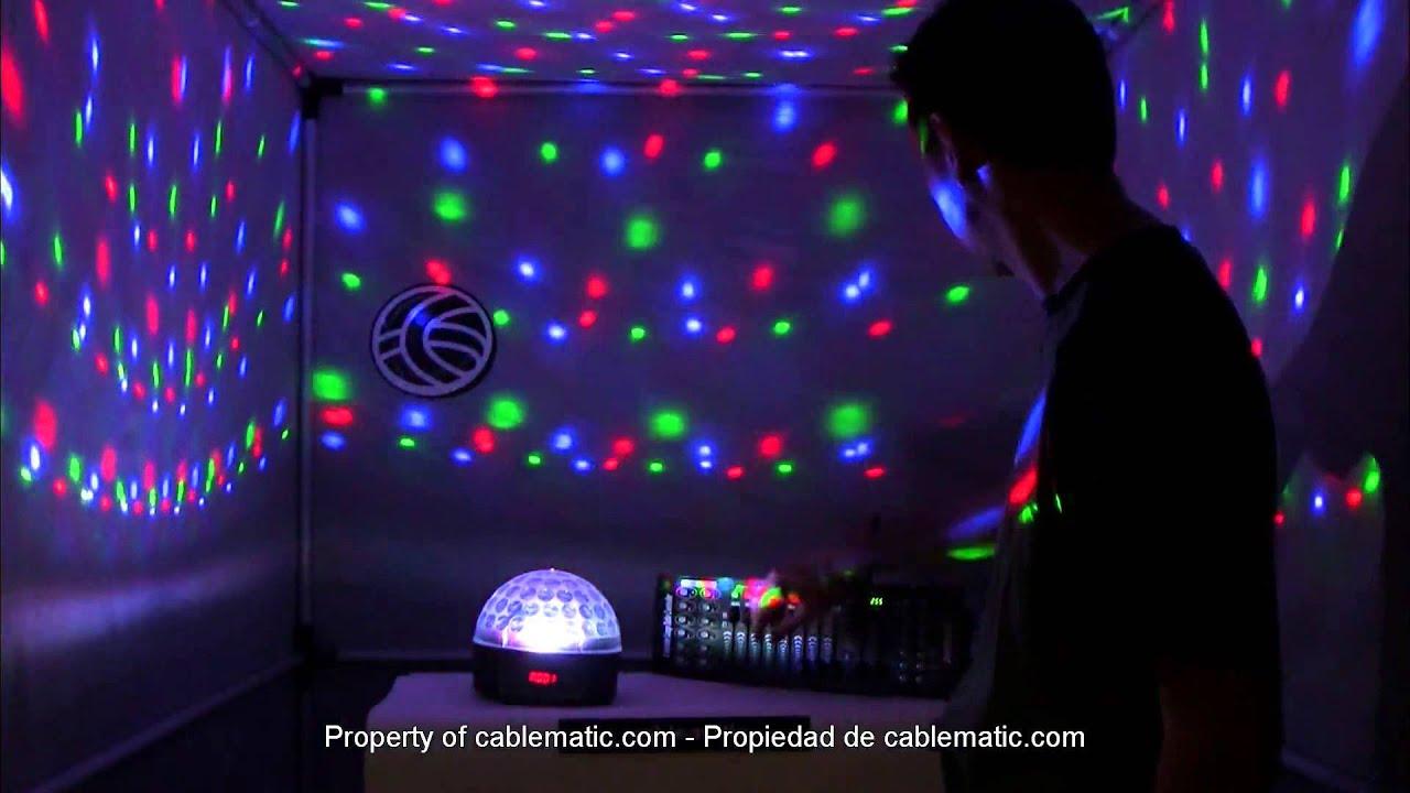 Bola led dmx512 luz rgb cristal distribuido por cablematic youtube - Focos led con luces de colores ...