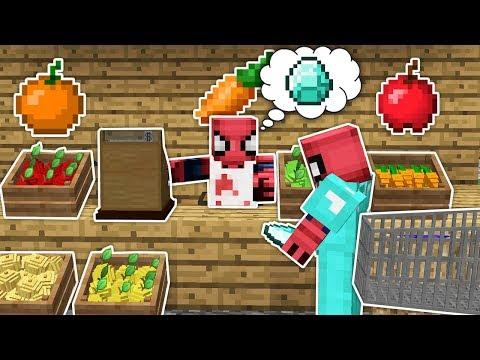 Fakir Örümcek Adam Pazarcı Oldu - Minecraft Zengin vs Fakir Örümcek Adam