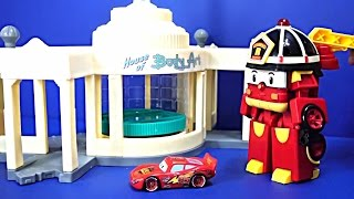 Disney Pixar Cars Lightning McQueen & Fire Truck & Super Wings &  Accident & Police Car