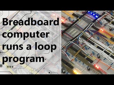 Breadboard computer runs a loop program