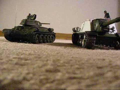 ISU-152 Russian tank vs German Elefant,  Radio Control video