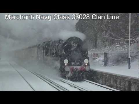 Clan Line thunders through a Heavy Snow Storm - January 2013.