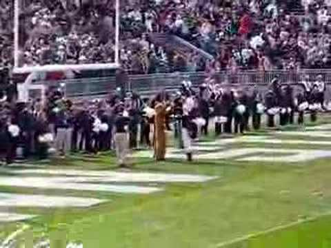 The football game tradition between the Nittany Lion and the drum major.