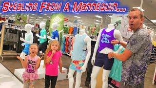 Stealing Clothes From Mannequin! Back To School Shopping Haul!
