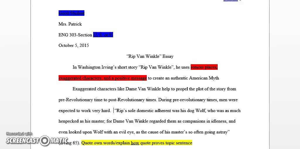 rip van winkle and romanticism essays