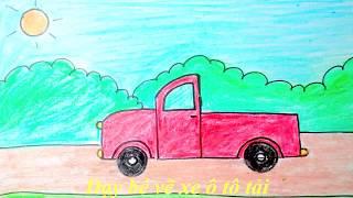Dạy bé học vẽ xe ô tô có thùng sau- Hướng dẫn bé vẽ xe ô tô- Drawing and coloring a truck