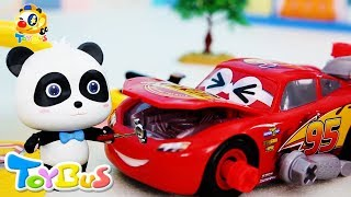 Super Panda and Lightning McQueen | Super Panda Auto Repairman | Toy Car Assembly Video | ToyBus