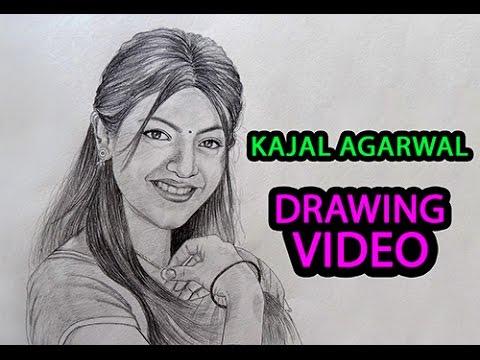 Kajal Agarwal Pencil Drawing video