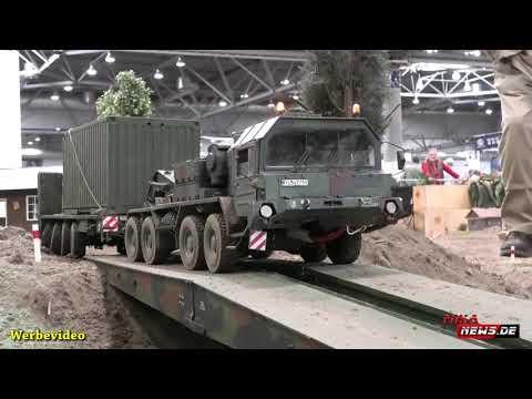 RC Militärtechnik - FAUN SLT 50 Elefant im Einsatz mit Beladen durch einen Berge-/Verlagdekran BKF