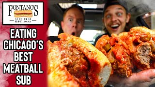 Eating The 8'' Meatball Sub From Fontano's Subs in Downtown Chicago