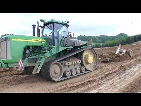 Big John Deere 9520T Pulling A Big Land Leveler