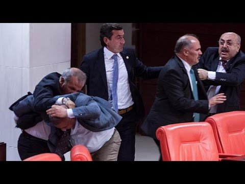 Turkish MPs injured in punch-up in parliament