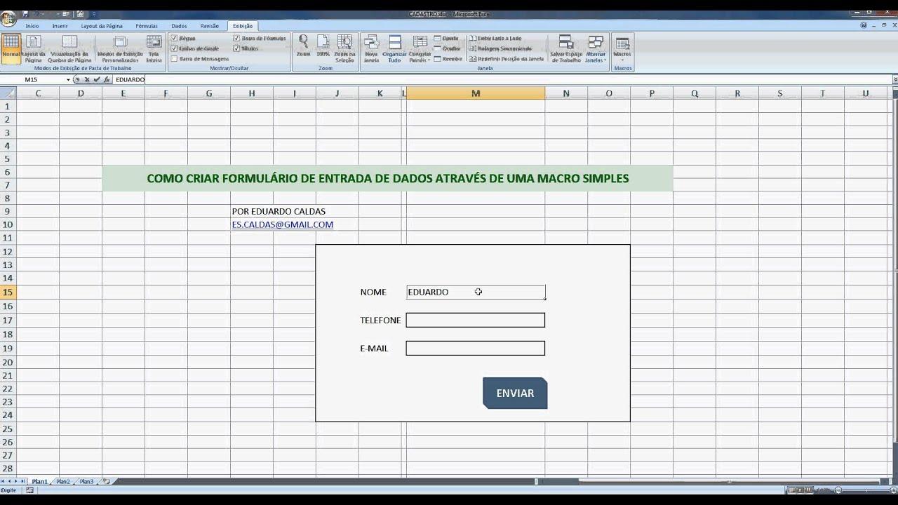 Excel Avançado - Formulário através de macro simples - YouTube