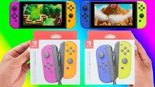 New Joy-Cons Neon Purple/Neon Orange and Blue/Neon Yellow - Unboxing and Nintendo Switch Gameplay
