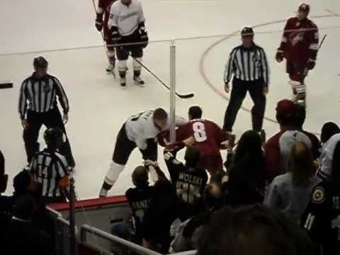 Phoenix Coyotes Gilbert Brule fights Anaheim Ducks superstar Corey Perry