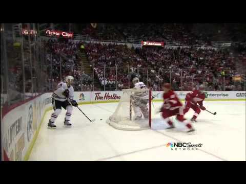 Justin Abdelkader blasts Niklas Hjalmarsson May 23 2013 Chicago Blackhawks vs Detroit Red Wings