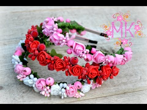 Ободки с цветами из пены