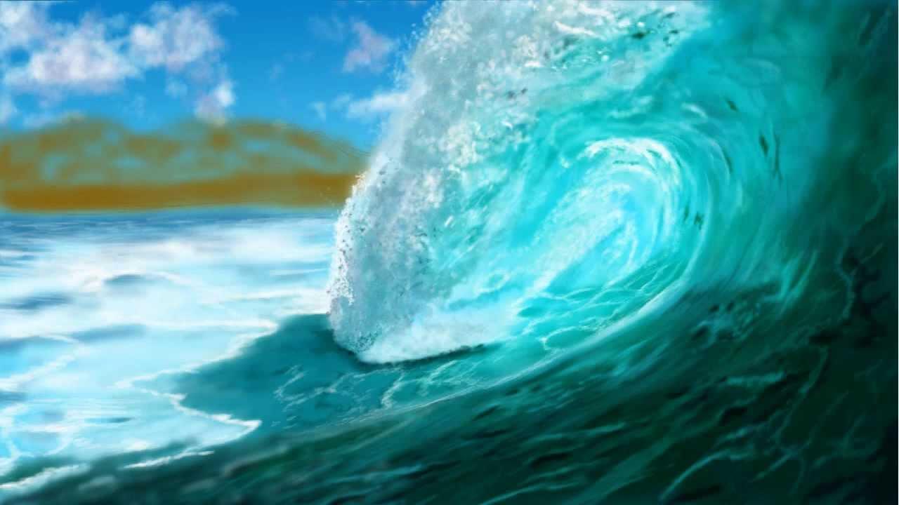 Realistic Ocean Wave Acrylic Paintings