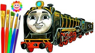 How to DRAW TRAIN Thomas and Friends Coloring Pages HIRO Train VIDEO FOR KIDS