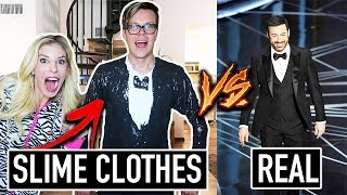 Recreating Oscars Outfits Using DIY Slime Clothes vs. Real Clothes