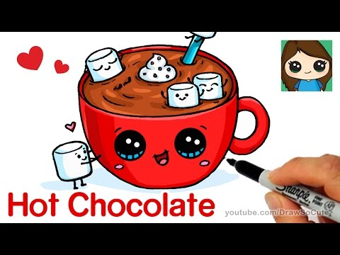 How to Draw Hot Chocolate with Marshmallows - Cartoon Food