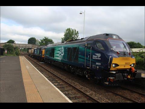 DRS 68023 with 37259 DIT (6E44 Carlisle Kingmoor Sdg - Seaton-O-T British Energy) @ Hexham 31/05/16
