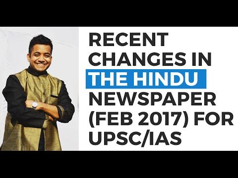 Recent changes in The Hindu newspaper (Feb 2017) - Strategy (UPSC CSE/IAS) - Roman Saini