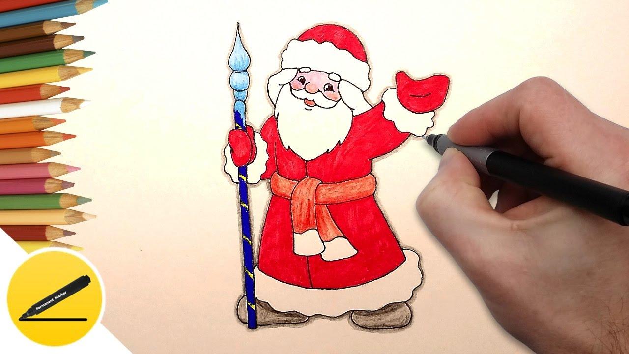 Как нарисовать открытку с дедом морозом 788