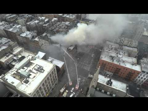 1080p60 NYC East Village building explosion 3-26-15 aftermath