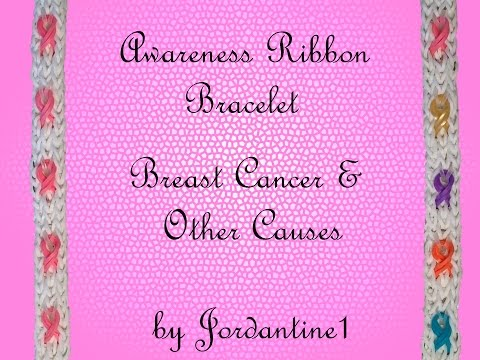 Awareness Ribbon Bracelet - Breast Cancer - Monster Tail or Rainbow Loom