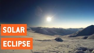 Guy Snowboards During Solar Eclipse | Mountaintop Views