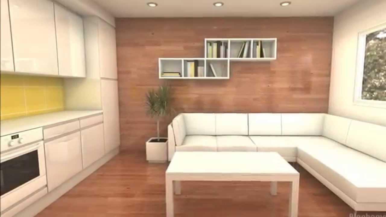 Peque a casa 35m2 youtube for Diseno de apartamento de 4x8 mts