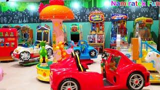 Anak Lucu Senang Bermain Mainan Anak Naik Odong Odong Bus Om Telolet & Komidi Putar Kuda Poni Lucu