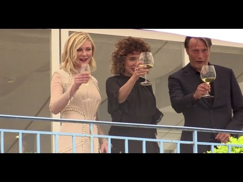 Jury members Kristen Dunst, Vanessa Paradis and Mads Mikkelsen having fun in Cannes