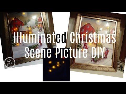 (£1) Poundland Craft:Illuminated Christmas Scene Picture DIY