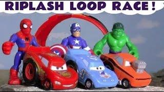 Pixar Cars 3 Riplash Racing with DC Comics & Marvel Avengers 4 Superheroes watching Disney McQueen